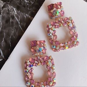 Pink Crystal Rectangle Jeweled Statement Earrings